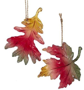 LEAF WITH GLITTER ORNAMENT - OAK