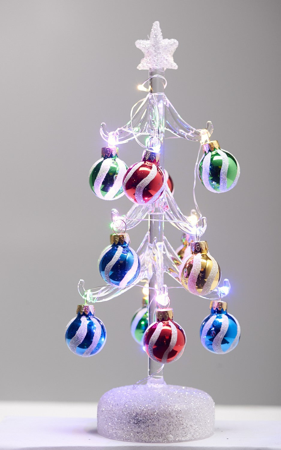 LIGHT UP GLASS TREE - SWIRL ORNAMENTS