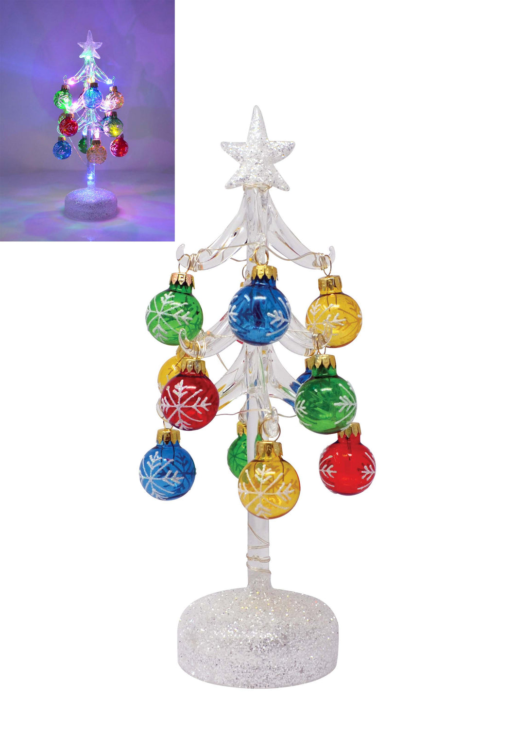 LIGHT UP GLASS TREE WITH 12 SNOWFLAKE ORNAMENTS