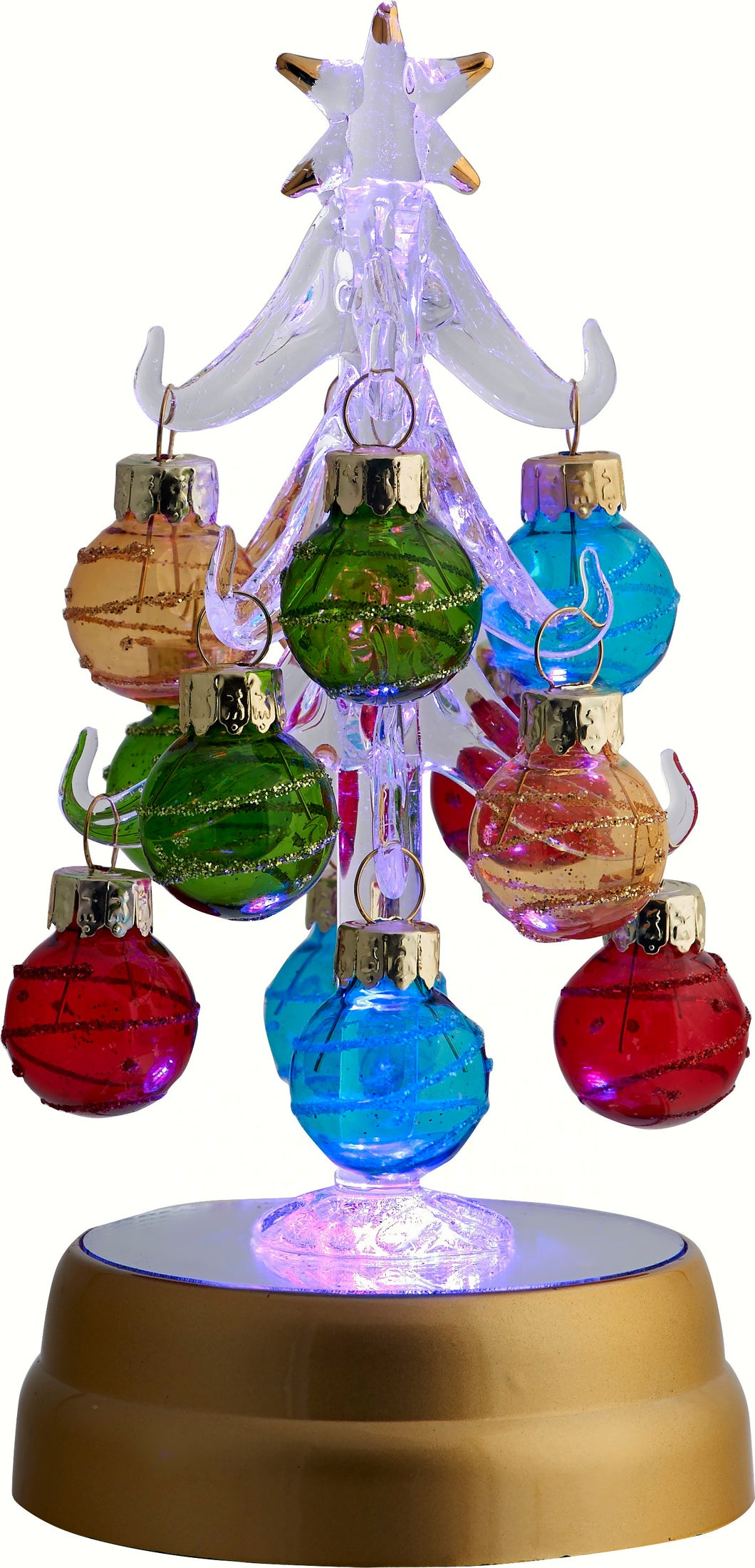 LIGHT UP GLASS TREE - 12 MULTI COLOR ORNAMENTS