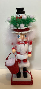 NUTCRACKER SNOWMAN TOPPED HAT 10""