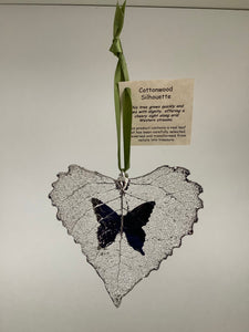 COTTONWOOD LEAF WITH BUTTERFLY SILHOUETTE - SILVER