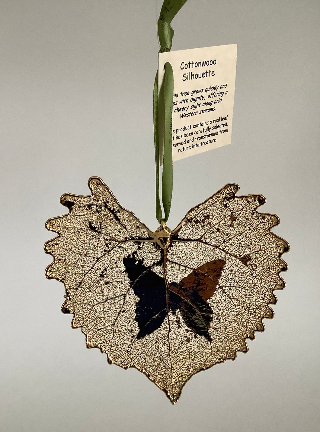 COTTONWOOD LEAF WITH BUTTERFLY SILHOUETTE - GOLD