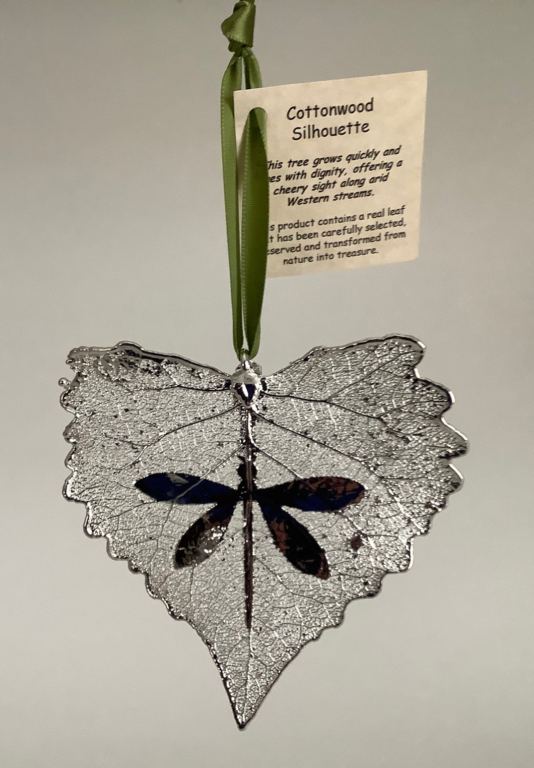 COTTONWOOD LEAF WITH DRAGONFLY SILHOUETTE - SILVER