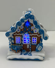 Load image into Gallery viewer, HANUKKAH GINGERBREAD LED HOUSE ORNAMENT