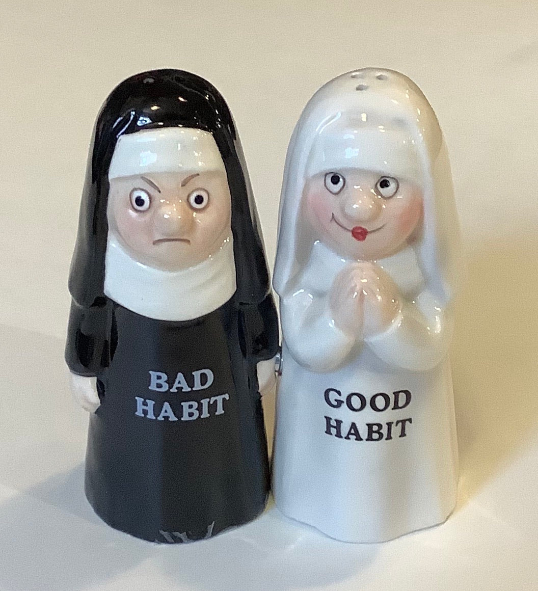 GOOD HABIT - BAD HABIT SALT & PEPPER SHAKER SET