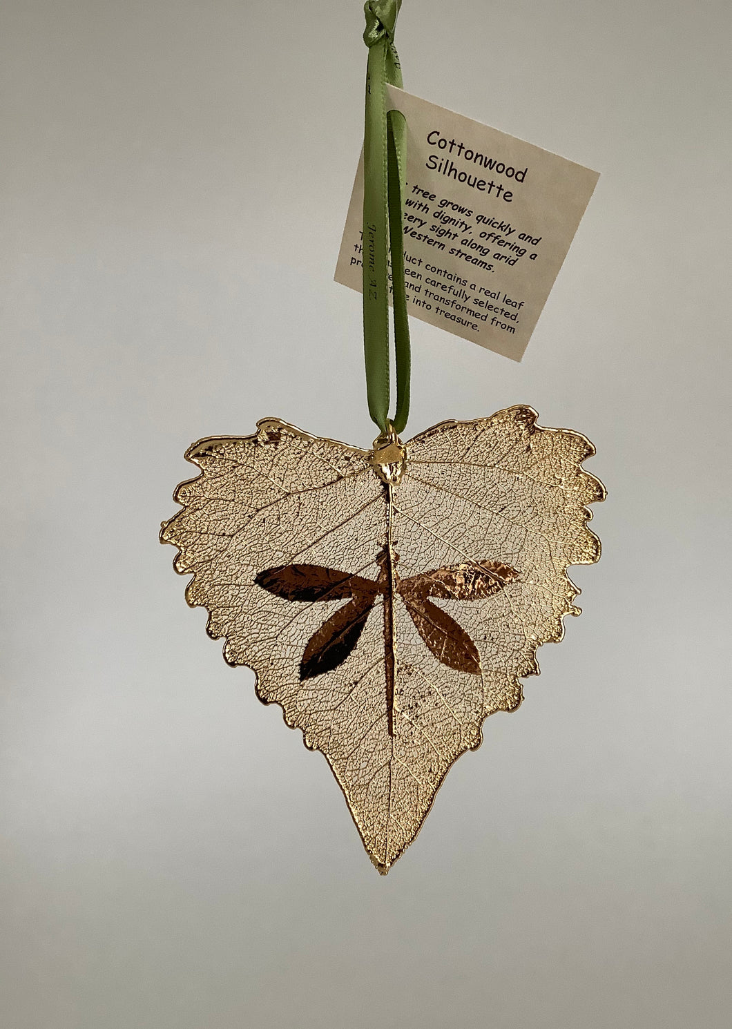 COTTONWOOD LEAF WITH DRAGONFLY SILHOUETTE - GOLD