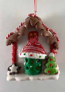 CLAYDOUGH LED GINGERBREAD ORNAMENT - CHOCALATE & MINI CANDY CANE