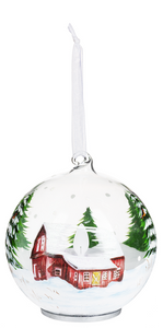 LED GLASS VINTAGE ORNAMENT - BARN