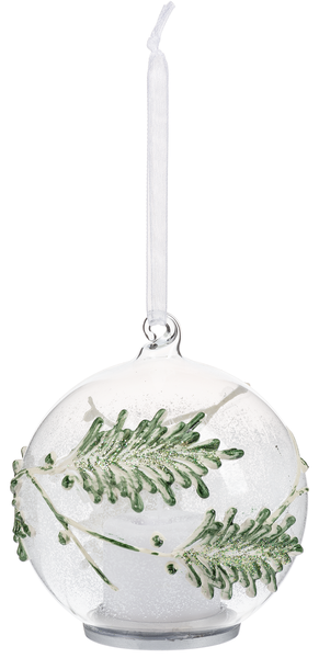 LED GLASS HOLLY ORNAMENT - TREE BRANCH