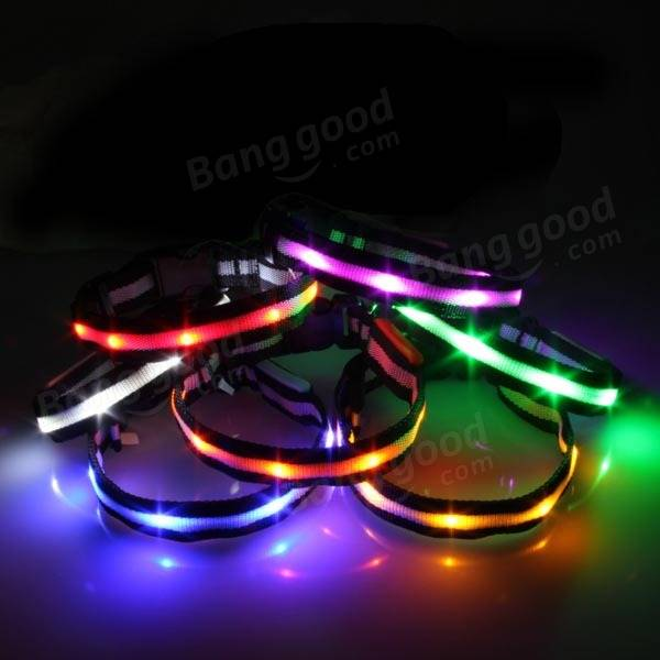 LED lit dog and cat collar - easy to put on and remove, white, blue, red, yellow, orange and green colors available.