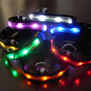 Size S Nylon Safety Flashing Glow Light LED Pet Dog and Cat Collar