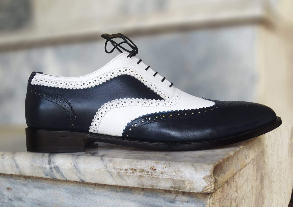 Men's Leather Casual Shoes, Men's Black White Wing Tip Shoes