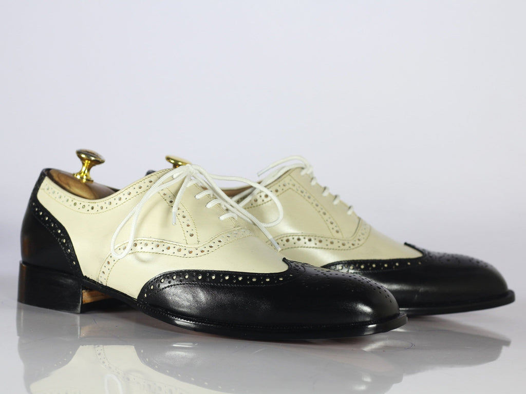 Shoes Men's Leather Casual Shoes, Men's Black White Wing Tip Shoes