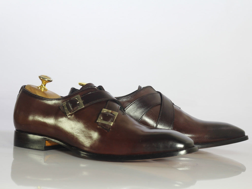 Brown Leather Derby Straps Shoe