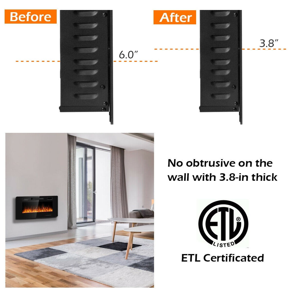 "BestFire™ Electric Fireplace Heaters Wall Mounted Ultra Thin 36"" Recessed"