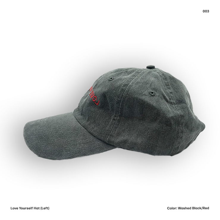Love Yourself Hat (Washed Black/Red)