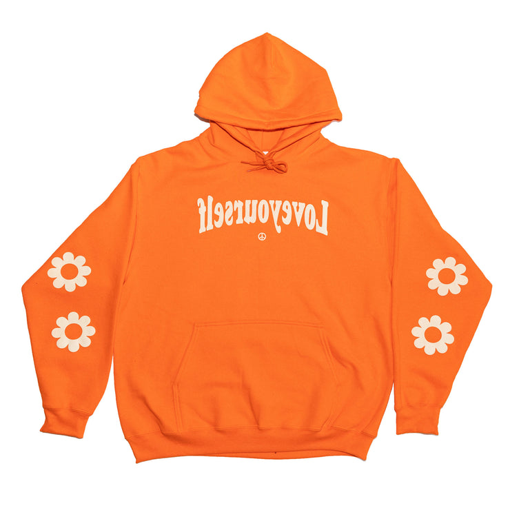 Tangerine & Beige Puff Print Hoodie (Smell The Flowers)