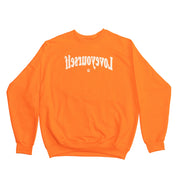 Tangerine & Beige Puff Print Crewneck (Smell The Flowers)