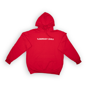 Love Yourself Hoodie (White On Red)