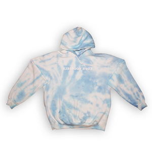 Love Yourself Tie-Dye Hoodie (Shades of Blue)