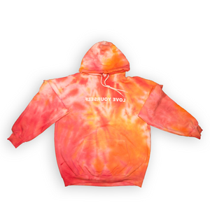 Love Yourself Tie-Dye Hoodie (Shades of Red, Orange, Yellow)
