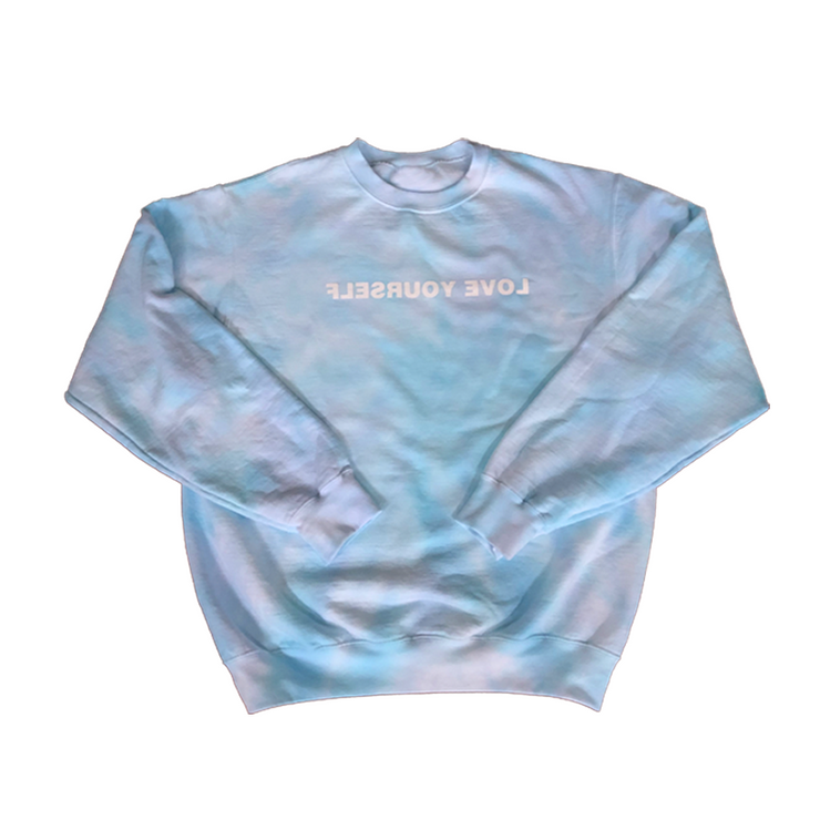Tie-Dye Love Yourself Crewneck (Shades of Blue)