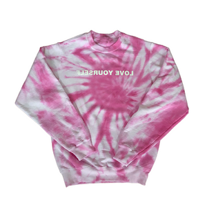 Tie-Dye Love Yourself Crewneck (Shades of Pink)