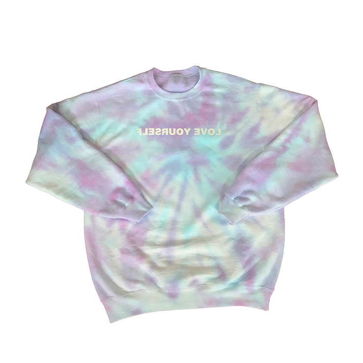 Tie-Dye Love Yourself Crewneck (Shades of Purple & Blue)