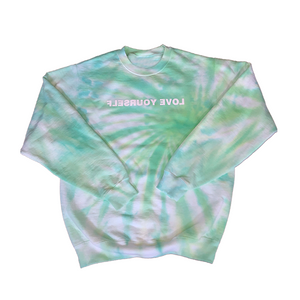 Tie-Dye Love Yourself Crewneck (Shades of Green & Blue)