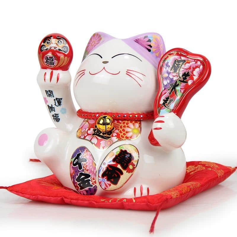 Tirelire Chat Japonais   Maneki Neko Rose