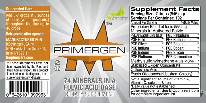 Primergen-M - Liquid minerals - Biohacker Center Store