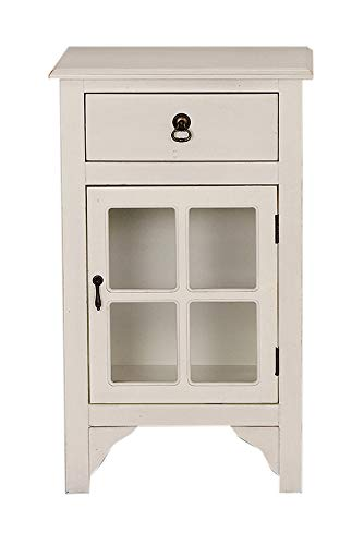 Antique White Wood Clear Glass Accent Cabinet with Drawer and Door (30'x18'x13')