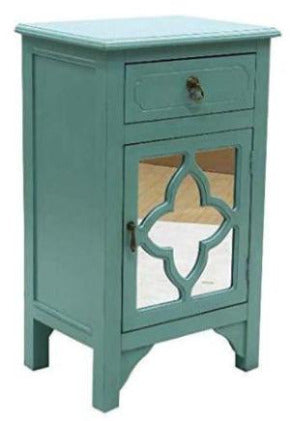 Turquoise Wood Mirrored Glass Accent Cabinet with a Drawer and a Door (30'x18'x13')