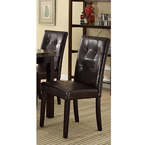 Dark Brown Faux Leather Dining Side Chairs In Pine, Set Of 2