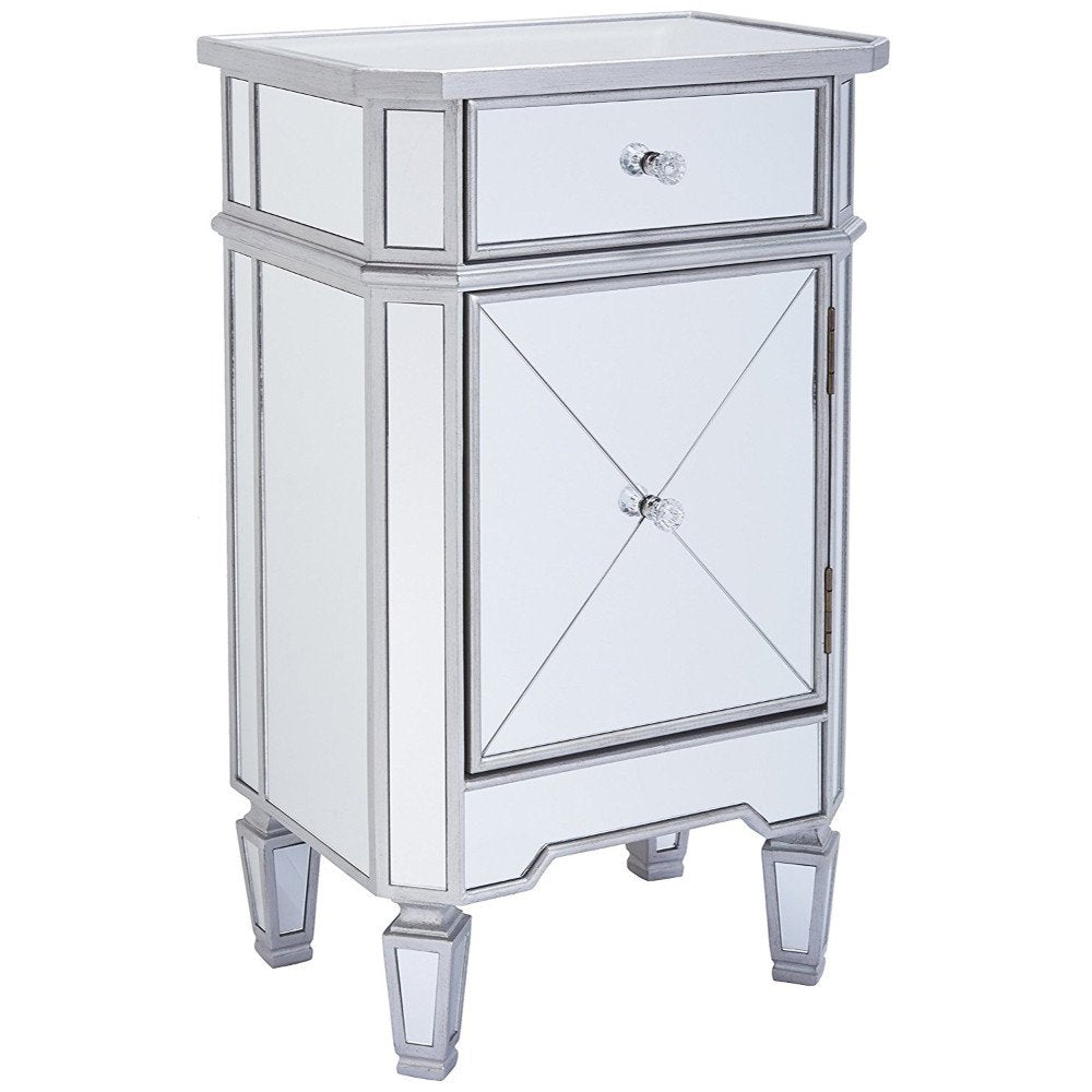 Single Drawer Mirrored Accent Cabinet, Silver