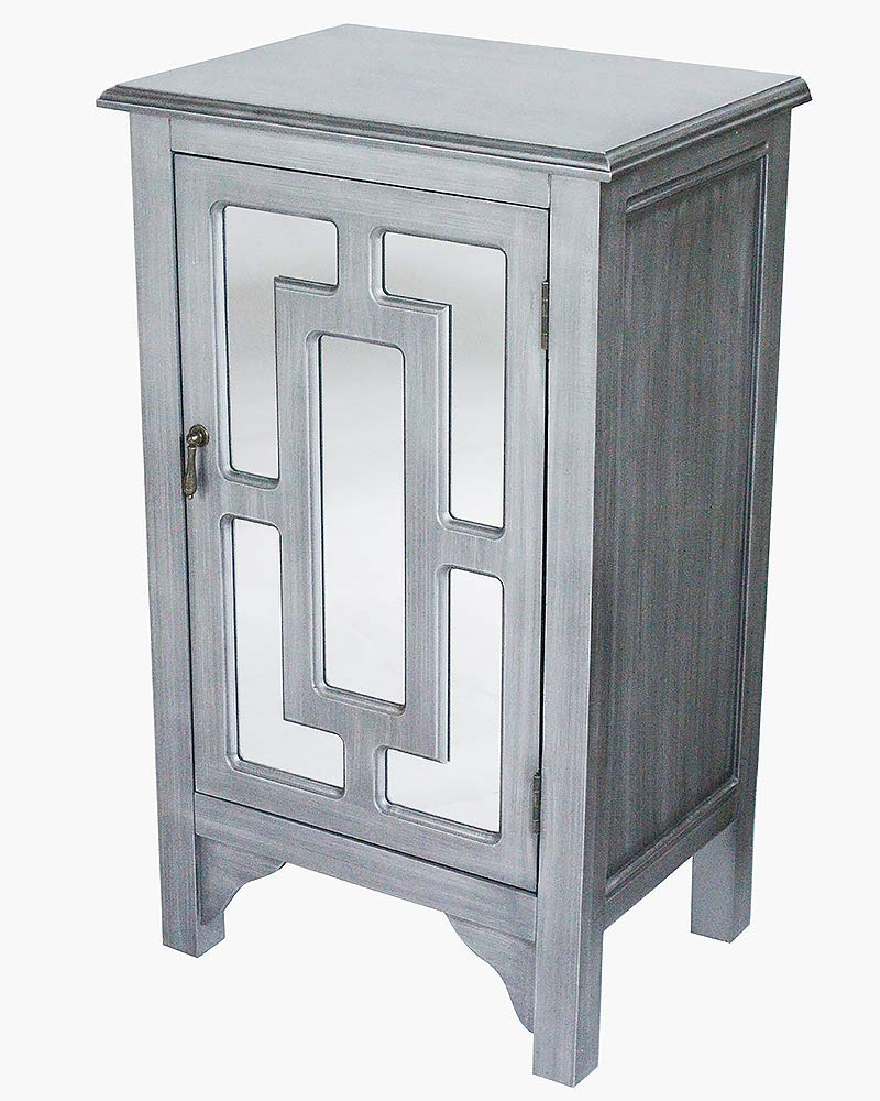 Gray Wash Wood Mirrored Glass Accent Cabinet with a Door and Mirror Inserts -30'x18'x13'