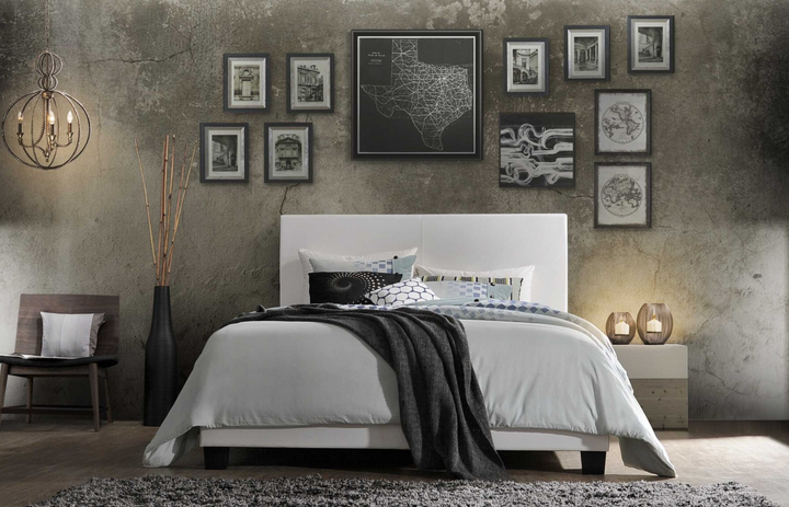 Twin White Panel Bed with Leather-Like Look (81