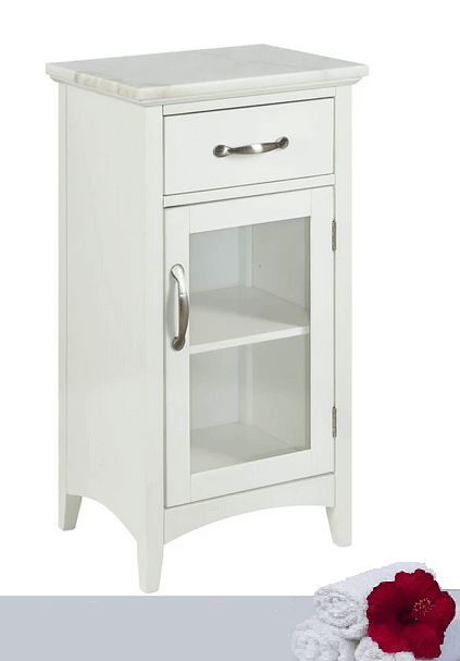 "White Accent Cabinet with Marble Top, Drawer and Door (16"" X 13"" X 30"")"