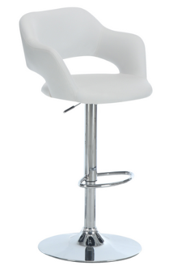 Barstool with White/Chrome Metal, Leather-Look and Hydraulic Lift