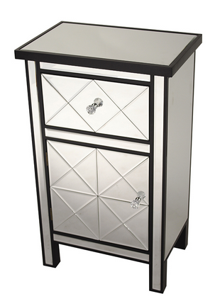 Black Wood Beveled Glass Accent Cabinet with Drawer and Door (32.7x20x13)