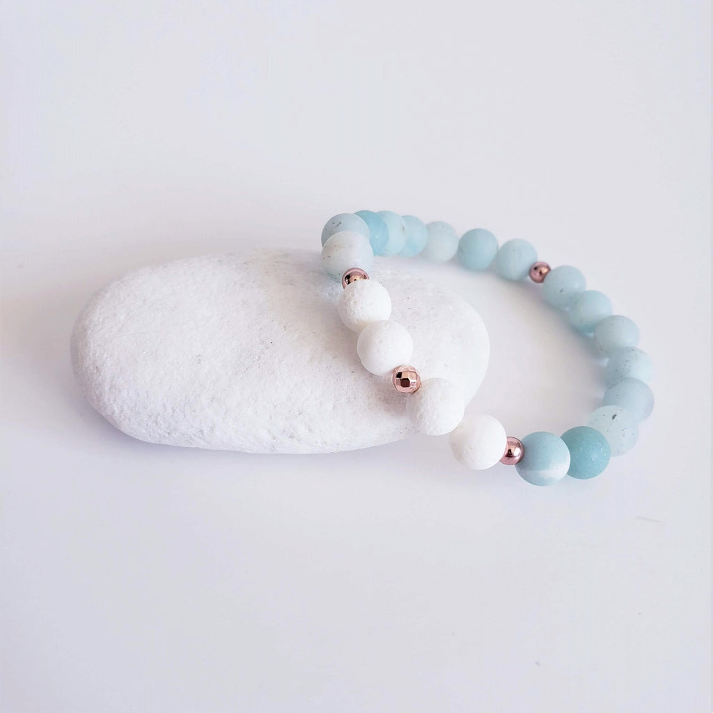 Meet The Maui Gemstone Bracelet | Amazonite + White Coral