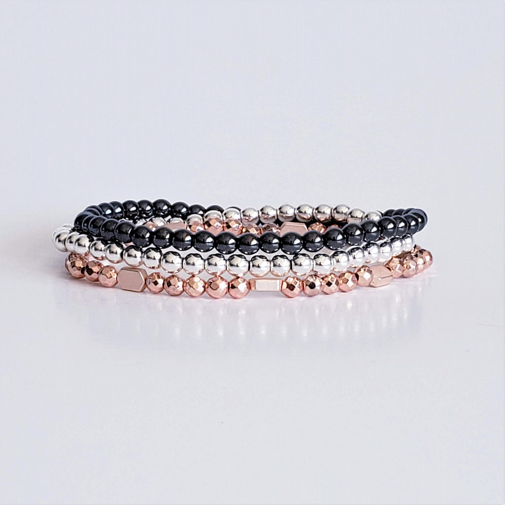 Hematite Stacker Bracelet Collection - Rose Gold, Gun Metal and Silver Hematite