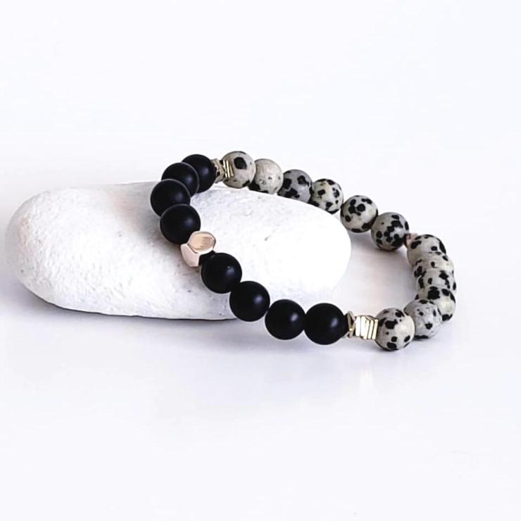 The Mālama Gemstone Bracelet - Dalmatian Jasper & Black Onyx with Gold Hematite Details!