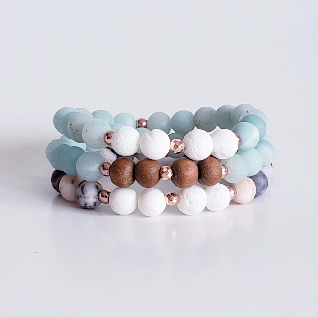 Kokua Collective Gemstone Bracelets Coral Diffuser Amazonite and Pink Zebra Jasper
