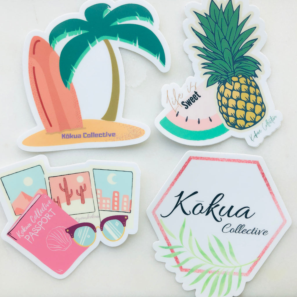 Stickers tropical travel Kokua collective