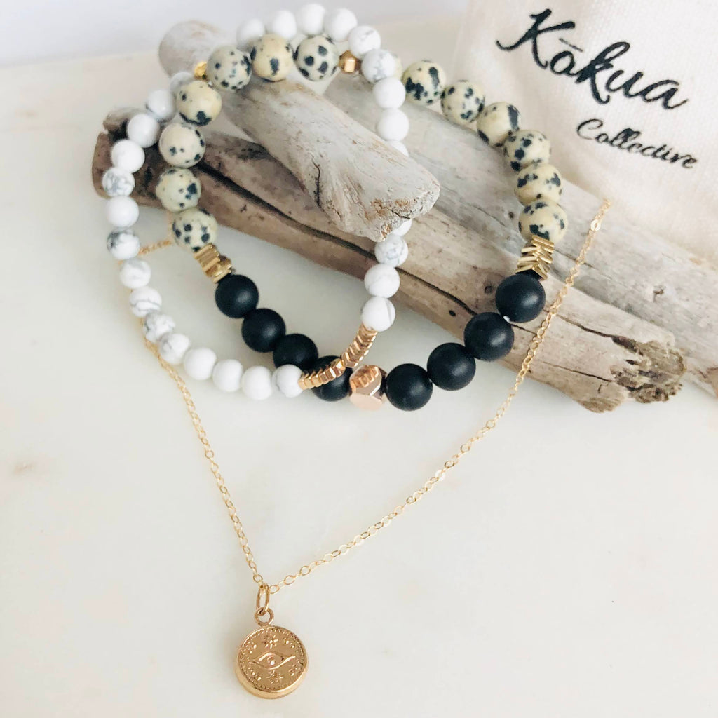 Kokua Collective White Howlite Dalmatian Jasper Black Onyx 14K gold fill evil eye necklace bracelet