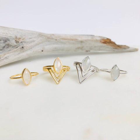 rainbow moonstone gold and silver rings