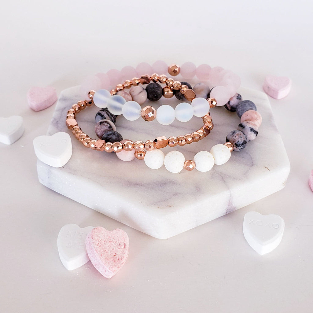 The Mana Gemstone Bracelet | Rose Quartz + Opal
