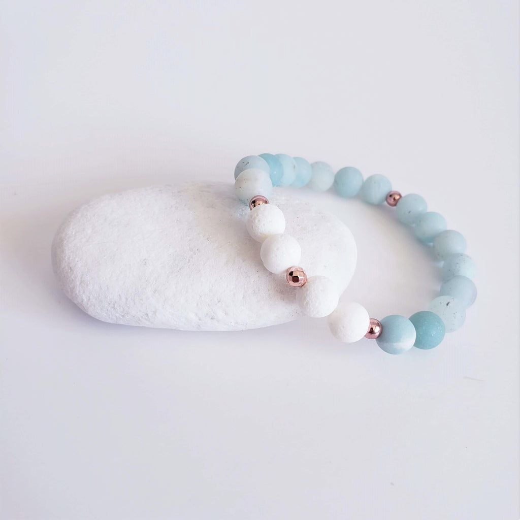 The Maui Gemstone Bracelet - Amazonite & Coral - Kokua Collective